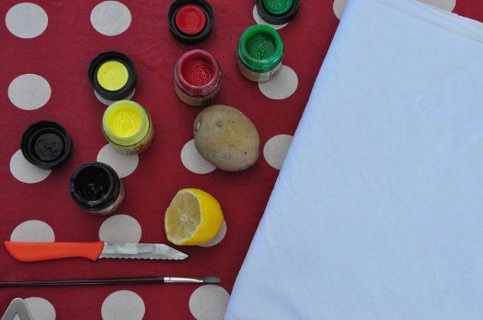 DIY sommerliche Tischdecke mit Kartoffeldruck - was wird benötigt