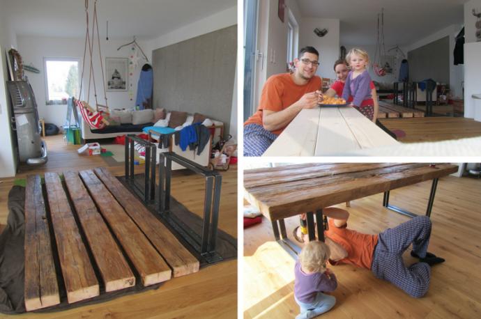 Esstisch aus alten Holzbalken von Feinrost